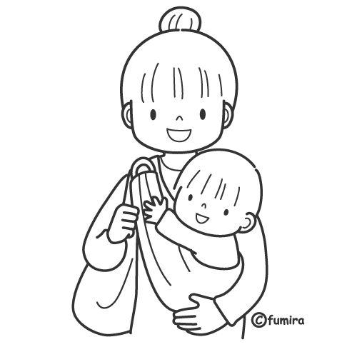 Mamá cargando a bebé para colorear