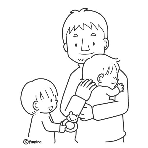 Padre cuidando a sus hijos para colorear
