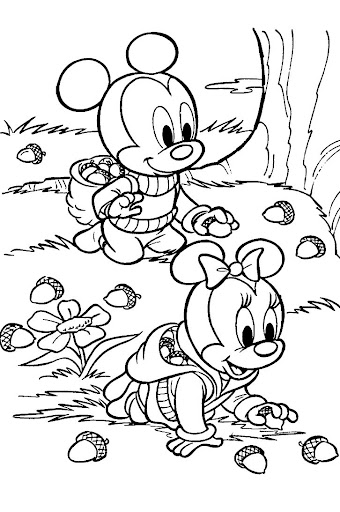 Baby Mickey y Baby Minnie Recogiendo Bellotas para colorear