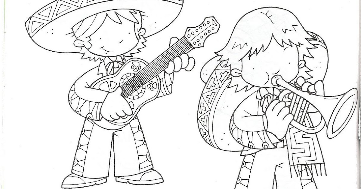 Mexican Mariachi free coloring