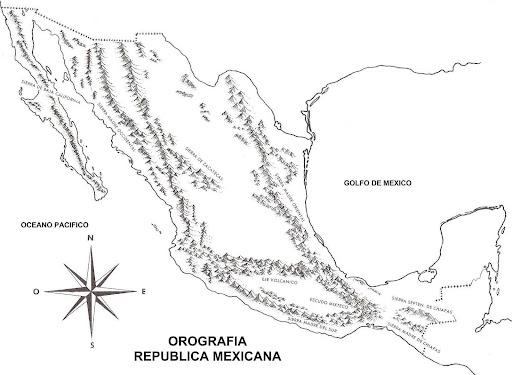 Mapa de montañas de México para colorear