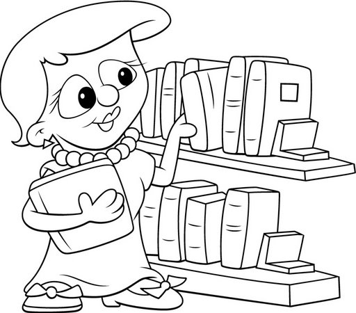 Librarian Coloring Pages Librarian Coloring Page