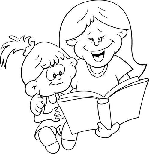 Dibujos de niños leyendo para colorear - Imagui