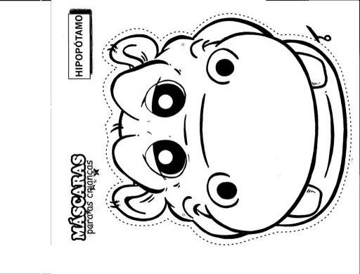 Máscara de hipopótamo para colorear – Dibujos Disney