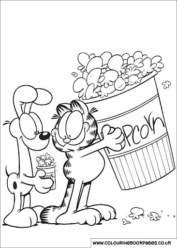 Garfield y Odie para colorear