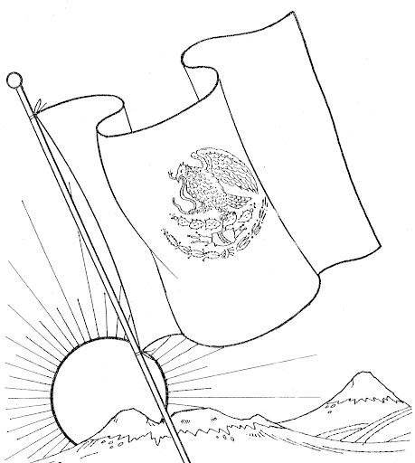 24 de febrero - Bandera de México para colorear