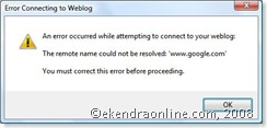 error connecting to weblog in windows live writer