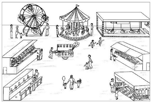 Parque de diversiones animado para colorear - Imagui