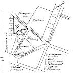 Проект застройки Спасского холма с указанием улиц и владельцев домов. 1854 г.