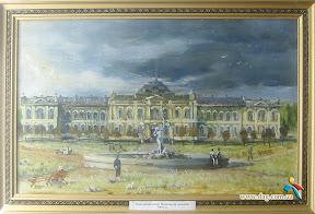 Аркасовский сквер и Мариинская гимназия. С картины А. Покосенко