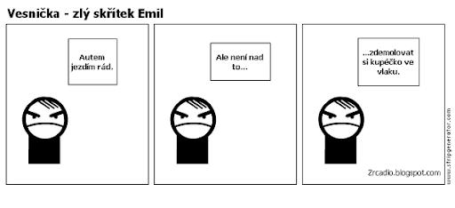 Komiks Vesnička - zlý skřítek Emil a hromadná doprava