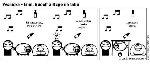 Komiks Vesnička - Emil, Rudolf a Hugo na tahu