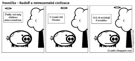 Komiks Vesnička - Rudolf a mimozemské civilizace.