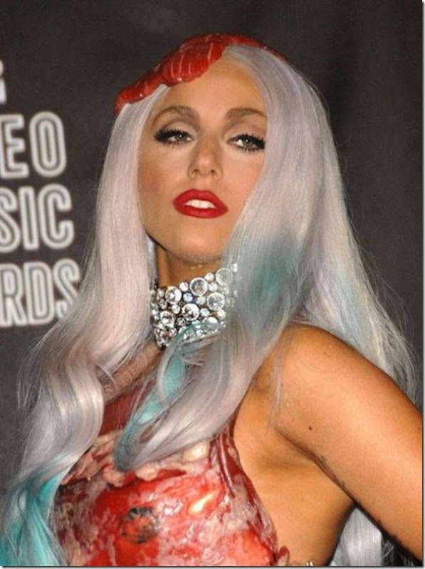Lady Gaga e seu vestido feito de Carne (4)