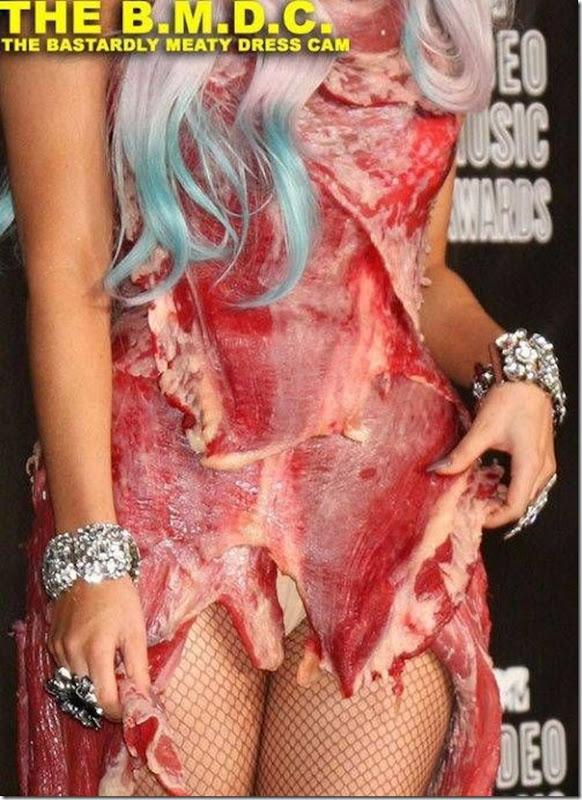 Lady Gaga e seu vestido feito de Carne (3)