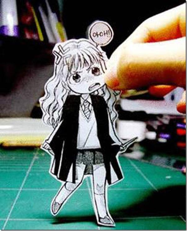 Personagens animados de cortes em papel (8)