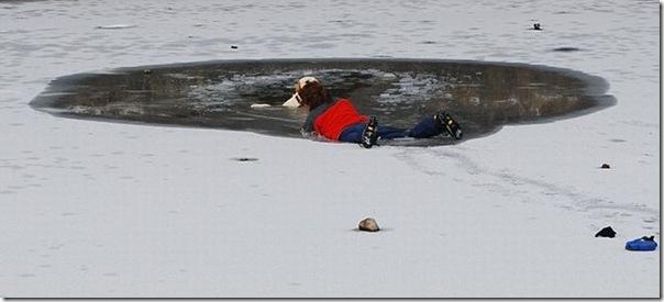 Um mulher quase morreu tentando salvar seu cão