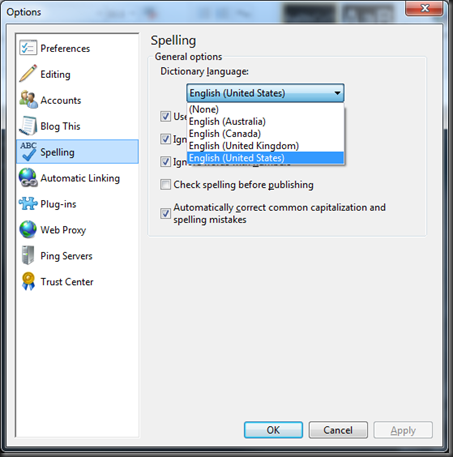 Dictionary Language in Windows Live Writer 2011
