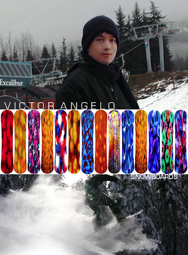 Victor Angelo paintings designs on snowboards