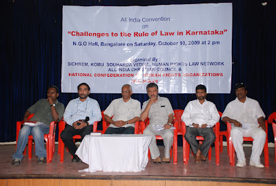 """Challenges to the Rule of Law in Karnataka"" at NGO hall in Bangalore"