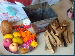 Bits and pieces in readiness for a Pooja