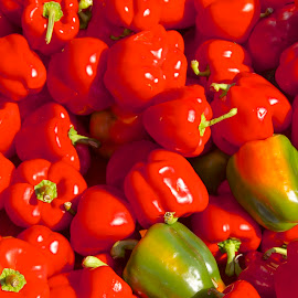 Odd Pepper out  by Samantha Delargy - Food & Drink Fruits & Vegetables ( fruit, red, food, green, pepper, vegetable,  )