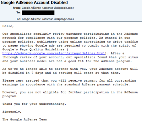 Adsense Account Disabled Email