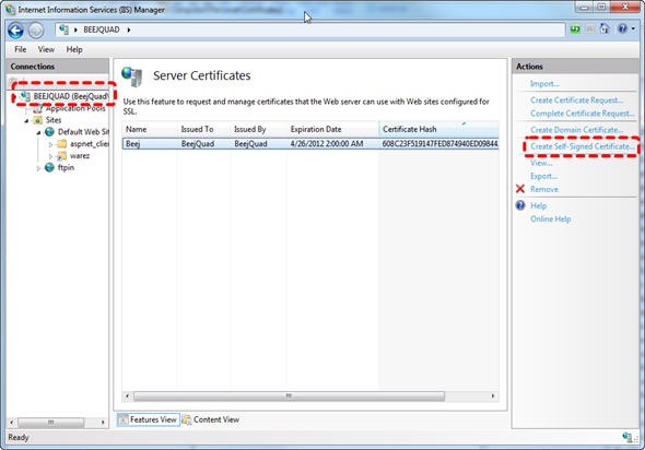Create Self-Signed Cert IIS7