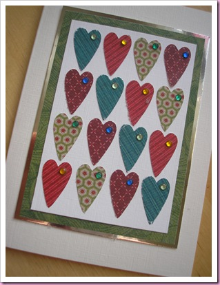 jewelled hearts card