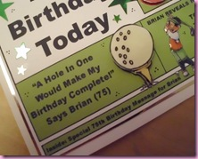 Newspaper Golfing Birthday Card