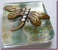 Large Dragon Fly on Glass Tile Pendant