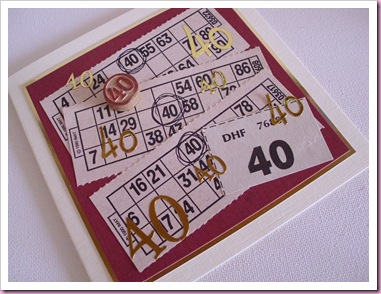 Bingo cards - 40th Birthday Card