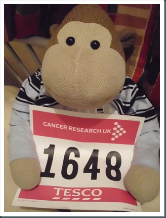Monkey with his Race for Life Number