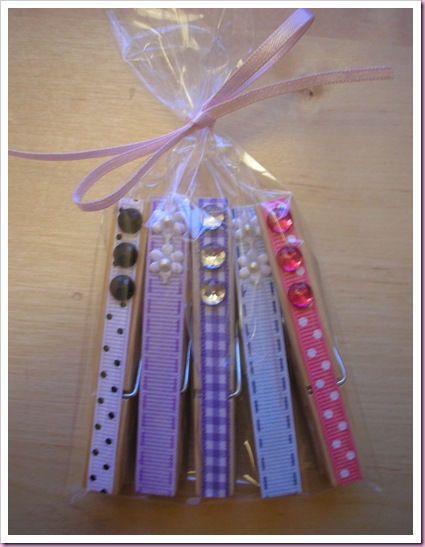 Decorated pegs in gift bag