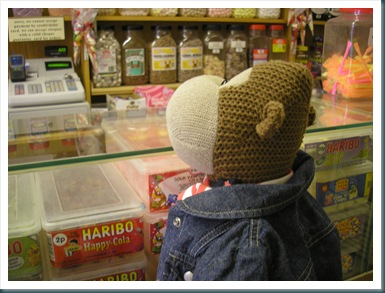 Monkey looking at sweets