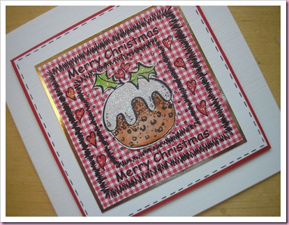Gingham Christmas pudding Card