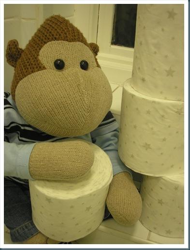 Monkey with Festive Loo Rolls