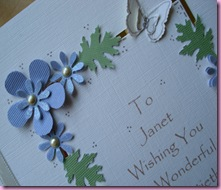 Punched Flowers on 7oth Birthday Card