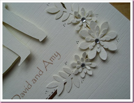 Flowers on wedding card
