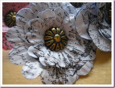 Stamped paper flower push pin