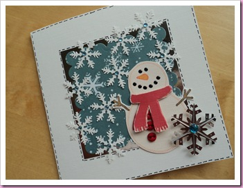 Scalloped Square Snowman Card