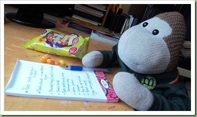 Monkey writing a to do list