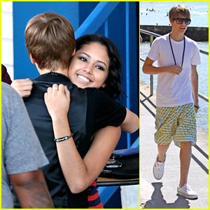 Justin Bieber goes to pick up Jasmine V at the Airport