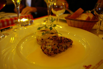 Panfried Seabass filet with almond topping served with dried fruit couscous