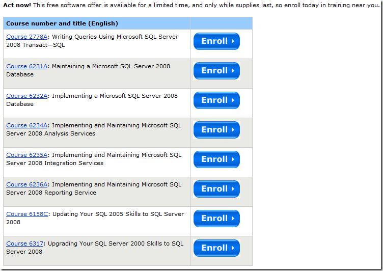 贈送SQL Server正式版本軟體的課程清單