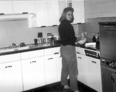 Karen in kitchen dorm--BYU