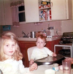 Julie & Steve in kitchen, Glendale, 1966