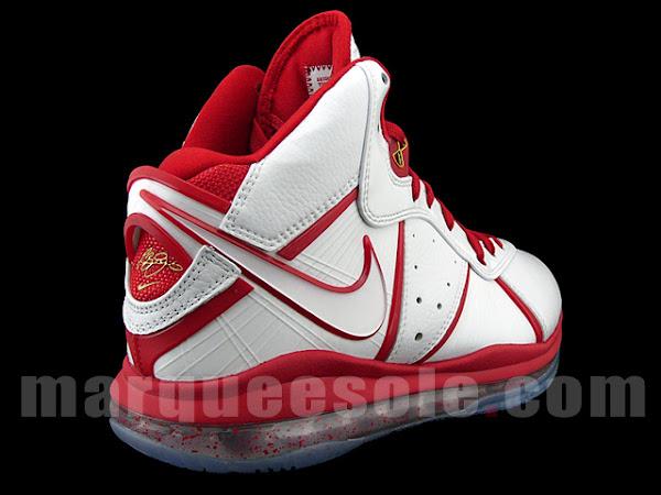 Nike Air Max LeBron 8 8211 White amp Red China Alternate Miami Heat