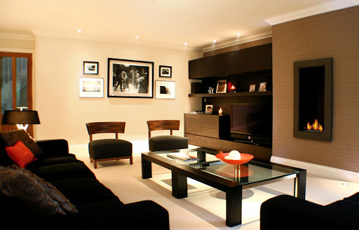 Dark Light Living room Interior Design by Ratchford