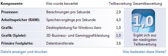 Leistungsbewertung Laptop